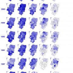 Mapa de partidos por comarcas. Big picture 1983-2011